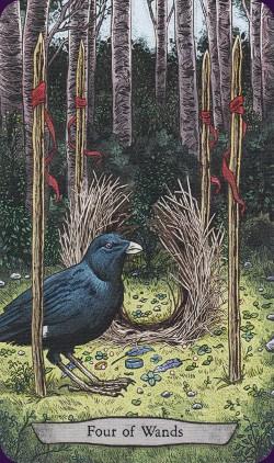 Tarot animal Totem carte four of wands