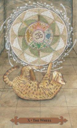 Tarot des chats mystiques: carte la roue de la fortune