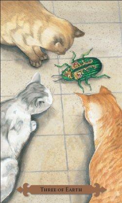 Tarot des chats mystiques: carte three of earth