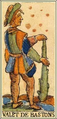 Anciens tarots Bolognais carte le valet de bâtons