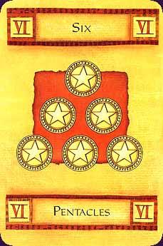 Art of Tarot carte six pentacles