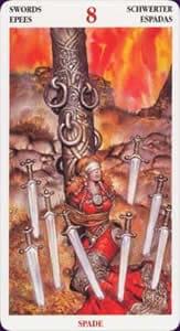 Celtic tarot carte : le 8 d'épée