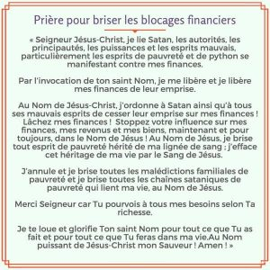 Prière pour enlever les blocages financiers