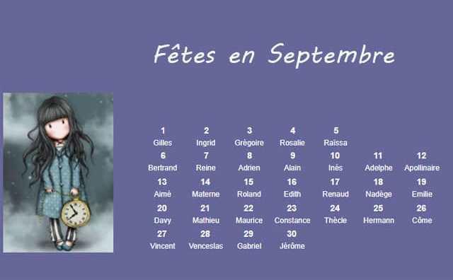 Les fêtes à souhaiter en septembre