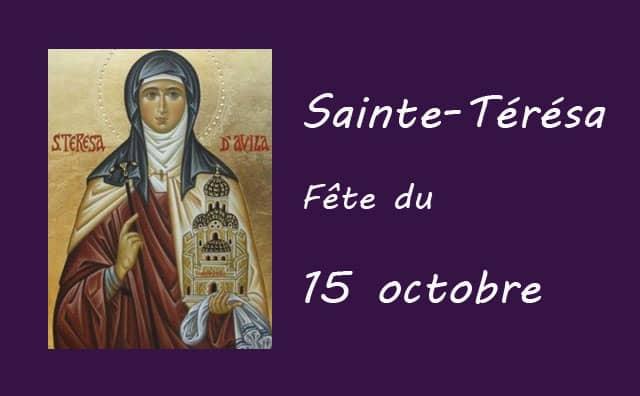 15 octobre : Sainte Térésa d'Avila